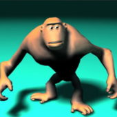 Angry Ape Cartoon Animal Rigged