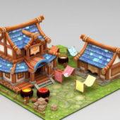 Anime Farmyard Building Scene