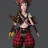 Cartoon Fox Girl Warrior Anime Character