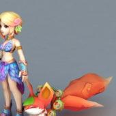 Anime Character Girl & Fox Spirit