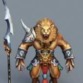Anime Lion Warrior Game Character