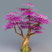 Cartoon Purple Tree Lowpoly