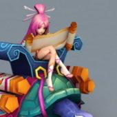 Anime Character Girl On Turtle