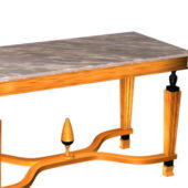 Antique Marble Top Wood Table