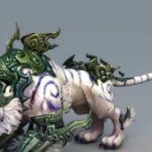 Armored White Tigert Fantasy Animal