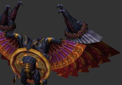 Armored Bird Humanoid Character