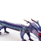 Azure Chinese Dragon Game Character