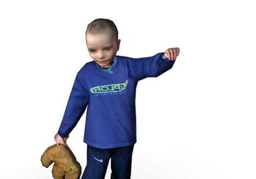 European Baby Boy With Teddy Bear Character