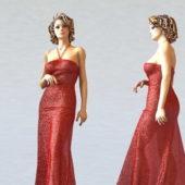Beautiful Character Red Dress Lady