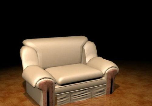Furniture Beige Leather Reclining Sofa