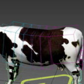 Black White Cow Animal Rigged