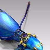 Blue Goldfish Cartoon Character