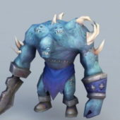 Game Character Blue Orc Warrior