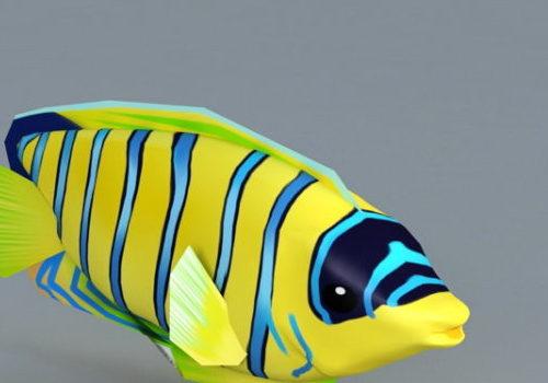 Aquarium Blue And Yellow Striped Fish