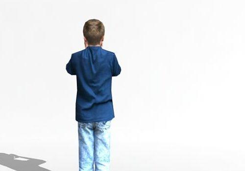 Character Boy Hiding His Face