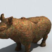 Park Bronze Rhinoceros Statue