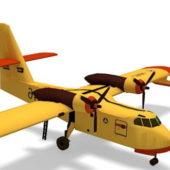 Yellow Canadair Firefighting Aircraft