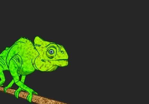 Cartoon Animal Chameleon Animated & Rigged