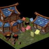 Cartoon Style Chinese House