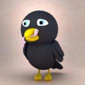 Cartoon Character Sad Crow Bird