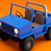 Cartoon Jeep Car Lowpoly