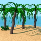 Cartoon Style Palm Tree Island