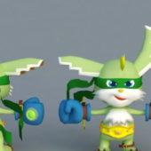 Cartoon Character Rabbit Boxer