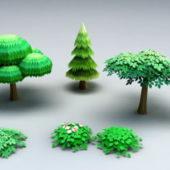 Cartoon Trees Shrubs Plant