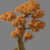 Cartoon Style Yellow Tree