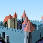 Cartoon Lowpoly Medieval Castle