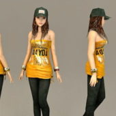 Casual Wear Asian Girl Character