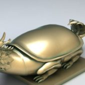 Chinese Gold Mythical Turtle Statue
