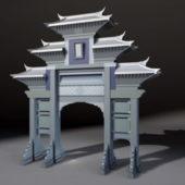 Chinese Paifang Gate Building