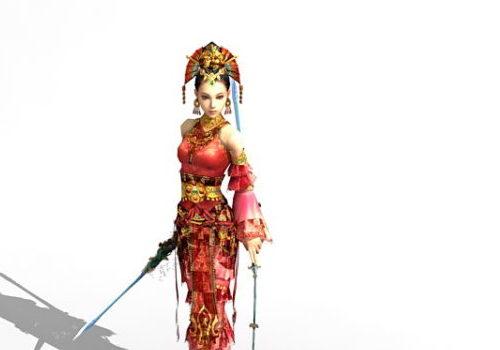 Chinese Character Female Swordsman