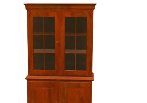 Classic Bookcase Wooden Glass Material