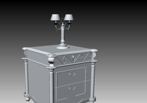 Classical Bedside Table With Table Lamp