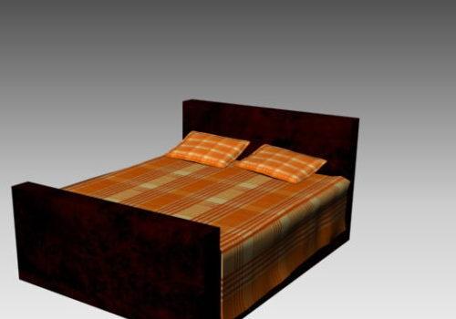 Dark Wood Double Bed