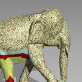Colored Elephant Animal Statue