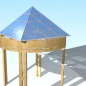 Wood Glass Gazebo Decor