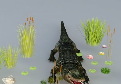 Crocodile Animal In Pond