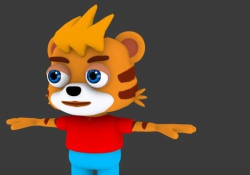 Cute Cartoon Tiger Rigged