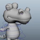 Cartoon Crocodile Rigged Character