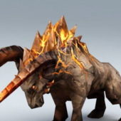 Monster Fire Bull Character Rigged