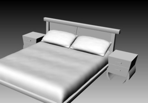Double Bed With Nightstands Modern Style