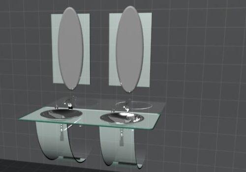 Furniture Double Washbowl Bathroom Vanity