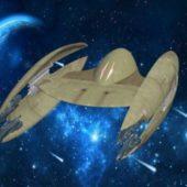 Sci-fi Droid Starfighter Spaceship