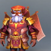 Game Character Dwarf Gladiator Red