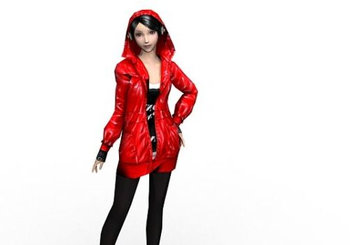 Red Fashion Girl Character