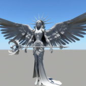 Character Female Angel Warrior Wings