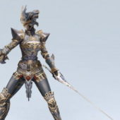 Female Knight Attack Character